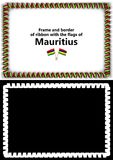 Frame and border of ribbon with the Mauritius flag for diplomas, congratulations, certificates. Alpha channel. 3d illustration Royalty Free Stock Photo