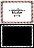 Frame and border of ribbon with the Mexico flag for diplomas, congratulations, certificates. Alpha channel. 3d illustration Stock Image
