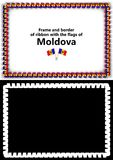 Frame and border of ribbon with the Moldova flag for diplomas, congratulations, certificates. Alpha channel. 3d illustration Stock Image