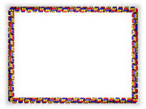 Frame and border of ribbon with the Moldova flag, edging from the golden rope. 3d illustration Royalty Free Stock Photos