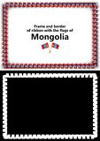 Frame and border of ribbon with the Mongolia flag for diplomas, congratulations, certificates. Alpha channel. 3d illustration Stock Photography