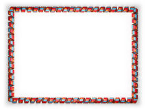 Frame and border of ribbon with the Mongolia flag, edging from the golden rope. 3d illustration Stock Photo