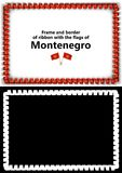 Frame and border of ribbon with the Montenegro flag for diplomas, congratulations, certificates. Alpha channel. 3d illustration Stock Photo