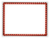 Frame and border of ribbon with the Montenegro flag, edging from the golden rope. 3d illustration Stock Image