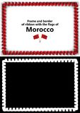 Frame and border of ribbon with the Morocco flag for diplomas, congratulations, certificates. Alpha channel. 3d illustration Stock Photos