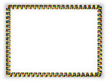 Frame and border of ribbon with the Mozambique flag. 3d illustration.  Stock Photography