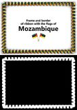 Frame and border of ribbon with the Mozambique flag for diplomas, congratulations, certificates. Alpha channel. 3d illustration Royalty Free Stock Photos