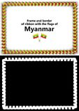 Frame and border of ribbon with the Myanmar flag for diplomas, congratulations, certificates. Alpha channel. 3d illustration Royalty Free Stock Photography