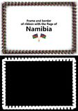 Frame and border of ribbon with the Namibia flag for diplomas, congratulations, certificates. Alpha channel. 3d illustration Royalty Free Stock Photo