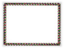 Frame and border of ribbon with the Namibia flag, edging from the golden rope. 3d illustration Stock Photography