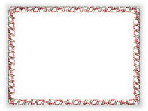Frame and border of ribbon with the Nepal flag, edging from the golden rope. 3d illustration Stock Image