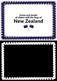 Frame and border of ribbon with the New Zealand flag for diplomas, congratulations, certificates. Alpha channel. 3d illustration Stock Photography