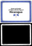 Frame and border of ribbon with the Nicaragua flag for diplomas, congratulations, certificates. Alpha channel. 3d illustration Royalty Free Stock Images