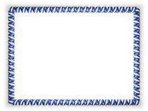 Frame and border of ribbon with the Nicaragua flag, edging from the golden rope. 3d illustration Stock Photography