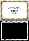 Frame and border of ribbon with the Niger flag for diplomas, congratulations, certificates. Alpha channel. 3d illustration Stock Photos
