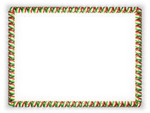 Frame and border of ribbon with the Niger flag, edging from the golden rope. 3d illustration Royalty Free Stock Photos
