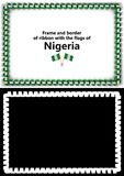 Frame and border of ribbon with the Nigeria flag for diplomas, congratulations, certificates. Alpha channel. 3d illustration Royalty Free Stock Photo
