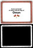 Frame and border of ribbon with the Oman flag for diplomas, congratulations, certificates. Alpha channel. 3d illustration Royalty Free Stock Photos