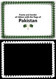 Frame and border of ribbon with the Pakistan flag for diplomas, congratulations, certificates. Alpha channel. 3d illustration Stock Photography