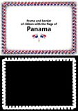 Frame and border of ribbon with the Panama flag for diplomas, congratulations, certificates. Alpha channel. 3d illustration Royalty Free Stock Image
