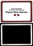 Frame and border of ribbon with the Papua New Guinea flag for diplomas, congratulations, certificates. Alpha channel. 3d illustrat Royalty Free Stock Image