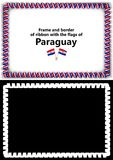 Frame and border of ribbon with the Paraguay flag for diplomas, congratulations, certificates. Alpha channel. 3d illustration Stock Photography