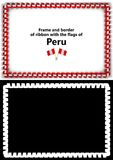 Frame and border of ribbon with the Peru flag for diplomas, congratulations, certificates. Alpha channel. 3d illustration Stock Images
