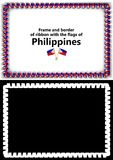 Frame and border of ribbon with the Philippines flag for diplomas, congratulations, certificates. Alpha channel. 3d illustration Royalty Free Stock Photography