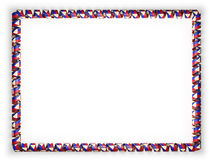 Frame and border of ribbon with the Philippines flag, edging from the golden rope. 3d illustration Royalty Free Stock Image