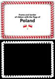 Frame and border of ribbon with the Poland flag for diplomas, congratulations, certificates. Alpha channel. 3d illustration Stock Images