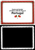 Frame and border of ribbon with the Portugal flag for diplomas, congratulations, certificates. Alpha channel. 3d illustration Stock Photo