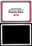 Frame and border of ribbon with the Puerto Rico flag for diplomas, congratulations, certificates. Alpha channel. 3d illustration Royalty Free Stock Photo