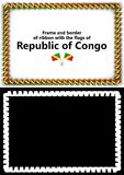 Frame and border of ribbon with the Republic of Congo flag for diplomas, congratulations, certificates. Alpha channel. 3d illustra Royalty Free Stock Image