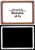 Frame and border of ribbon with the Romania flag for diplomas, congratulations, certificates. Alpha channel. 3d illustration Royalty Free Stock Photography