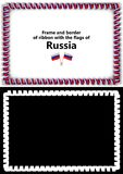 Frame and border of ribbon with the Russia flag for diplomas, congratulations, certificates. Alpha channel. 3d illustration Stock Photo