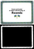 Frame and border of ribbon with the Rwanda flag for diplomas, congratulations, certificates. Alpha channel. 3d illustration Stock Images