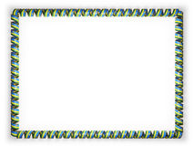 Frame and border of ribbon with the Rwanda flag, edging from the golden rope. 3d illustration Royalty Free Stock Image