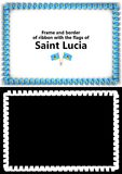 Frame and border of ribbon with the Saint Lucia flag for diplomas, congratulations, certificates. Alpha channel. 3d illustration Royalty Free Stock Photos