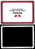 Frame and border of ribbon with the Samoa flag for diplomas, congratulations, certificates. Alpha channel. 3d illustration.  Royalty Free Stock Photography