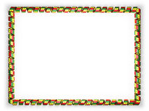 Frame and border of ribbon with the Senegal flag, edging from the golden rope. 3d illustration Stock Photos