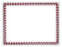 Frame and border of ribbon with the Serbia flag, edging from the golden rope. 3d illustration Stock Photos