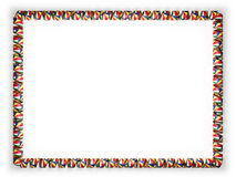 Frame and border of ribbon with the Seychelles flag, edging from the golden rope. 3d illustration Stock Photo