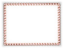 Frame and border of ribbon with the state Alabama flag, USA, edging from the golden rope. 3d illustration Stock Image