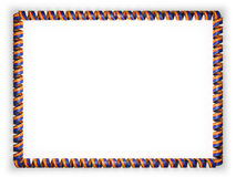 Frame and border of ribbon with the state Arizona flag, USA, edging from the golden rope. 3d illustration Stock Images