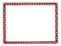 Frame and border of ribbon with the state Arkansas flag, USA, edging from the golden rope. 3d illustration Stock Photos