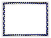 Frame and border of ribbon with the state Connecticut flag, USA, edging from the golden rope. 3d illustration Stock Photos