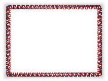 Frame and border of ribbon with the state Georgia flag, USA, edging from the golden rope. 3d illustration Stock Image
