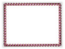 Frame and border of ribbon with the state Hawaii flag, USA, edging from the golden rope. 3d illustration Stock Photos