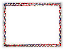 Frame and border of ribbon with the state Iowa flag, USA, edging from the golden rope. 3d illustration Royalty Free Stock Photos