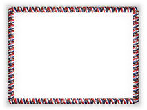 Frame and border of ribbon with the state Missouri flag, USA, edging from the golden rope. 3d illustration Stock Photography